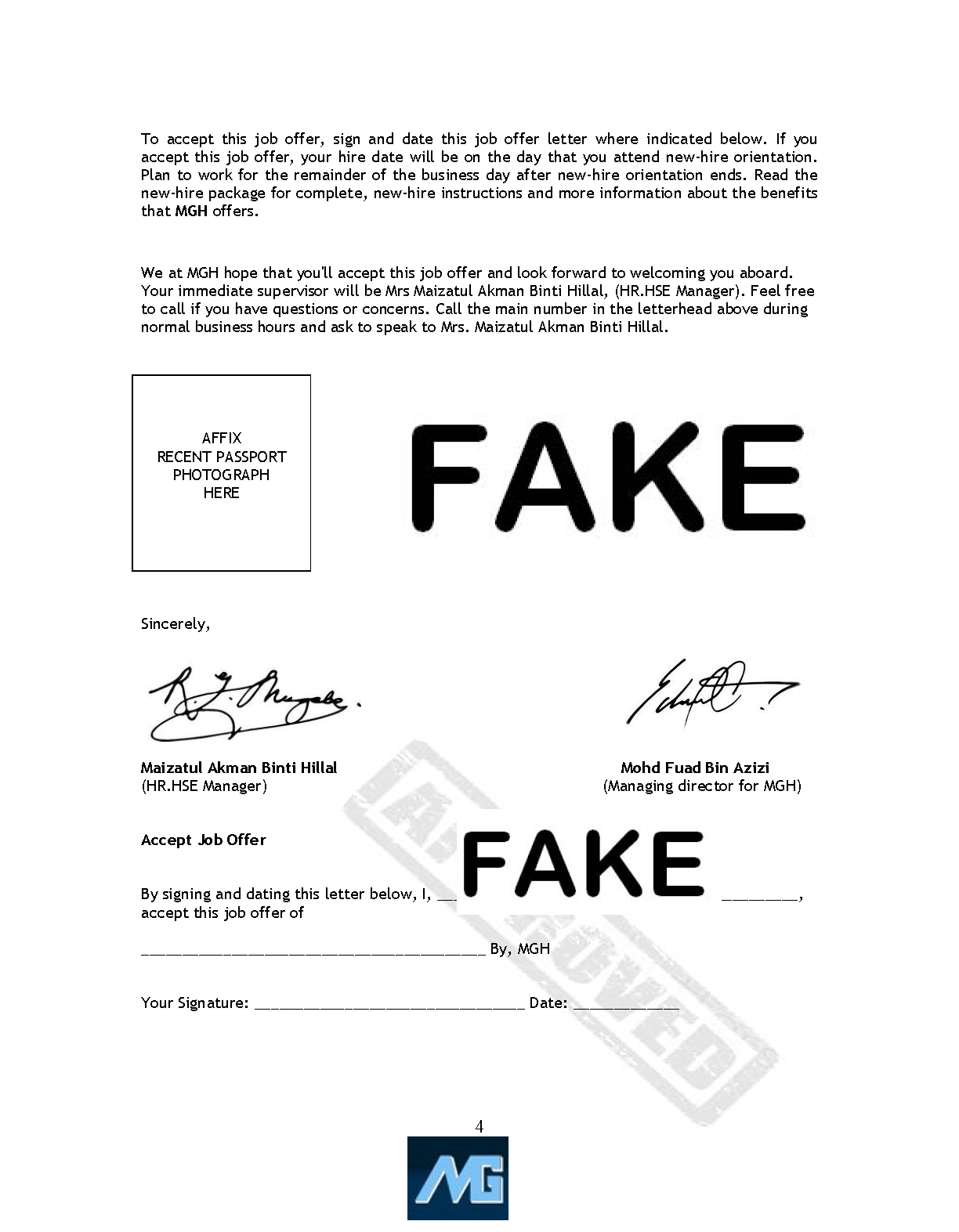 CAUTION: Fake Offer Letter from unauthorized people who using our
